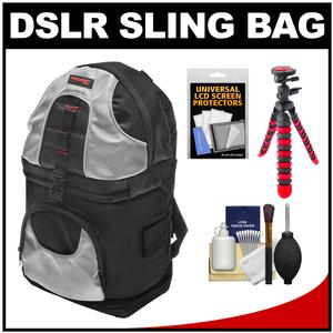 Precision Design PD-BP2 Deluxe Sling Digital SLR Camera Backpack Case (Black/Silver) with Flex Tripod + Accessory Kit