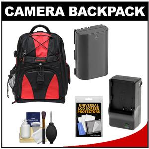 Precision Design Multi-Use Laptop/Tablet Digital SLR Camera Backpack Case (Black/Red) with LP-E6 Battery & Charger + Accessory Kit