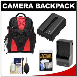 Precision Design Multi-Use Laptop/Tablet Digital SLR Camera Backpack Case (Black/Red) with NP-FM500H Battery & Charger + Accessory Kit