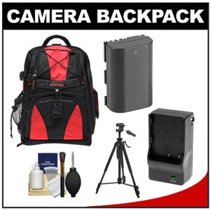 Precision Design Multi-Use Laptop/Tablet Digital SLR Camera Backpack Case (Black/Red) with LP-E6 Battery & Charger + Tripod + Accessory Kit