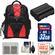 Precision Design Multi-Use Laptop/Tablet Digital SLR Camera Backpack Case (Black/Red) with 32GB Card + EN-EL15 Battery + Accessory Kit