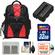 Precision Design Multi-Use Laptop/Tablet Digital SLR Camera Backpack Case (Black/Red) with 32GB Card + NP-FM500H Battery + Accessory Kit