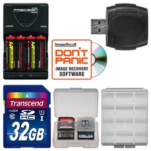 AA Batteries & Charger + 32GB SD Card Essential Bundle for Nikon Coolpix A10  B500  L30  L31  L32  L820  L830  L840 Digital Camera