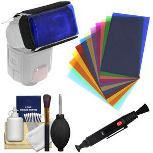 Precision Design 12 Color Gel Flash Filter Set with Digital Camera Cleaning Kit
