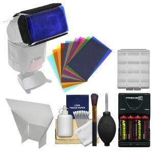 Precision Design 12 Color Gel Flash Filter Set with Flash Reflector + Batteries and Charger + Cleaning Kit
