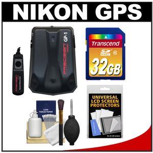 Precision Design GP-1 GPS Geotag Adapter Unit & Shutter Cord for Nikon Digital SLR Cameras with 32GB Card + Accessory Kit for D7000, D5100, D3200, D3100, D800, D600, D700, D4, D3S