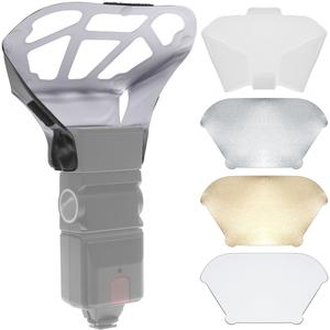 Precision Design Universal Flash Diffuser Bouncer with Interchangeable White - Gold - Silver Inserts plus Diffusion Screen