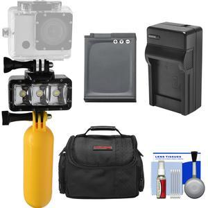 Precision Design WPL40 Waterproof Underwater Diving LED Video Light with Buoy + Battery and Charger + Case + Kit for Nikon Keymission 360 170 Coolpix AW130 W300