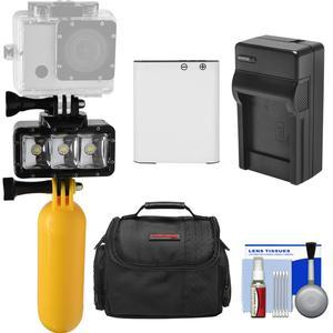 Precision Design WPL40 Waterproof Underwater Diving LED Video Light with Buoy + Battery and Charger + Case + Kit for Olympus TOUGH TG-Tracker TG-4 and TG-5