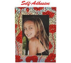 Precision Design Self-Adhesive Photo Frame 4x6-Red Flower -