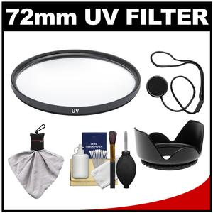 Take Offer Precision Design 72mm UV Glass Filter with Lens Hood + DSLR Camera & Lens Cleaning Kit Before Too Late