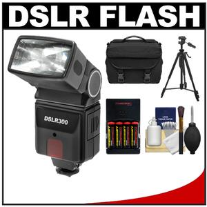 Precision Design DSLR300 High Power Auto Flash with Case + Tripod + - 4 - Batteries and Charger + Accessory Kit