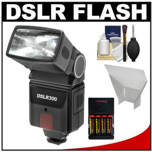 Precision Design DSLR300 High Power Auto Flash with Bounce Reflector and-4-Batteries and Charger and Accessory Kit