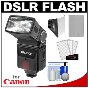 Precision Design DSLR300 High Power Auto Flash with NB-10L Battery and Softbox Kit for PowerShot G15 G16 G1 X Mark II SX50 SX60 HS