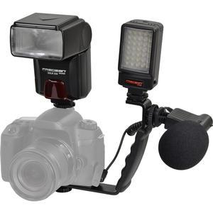 Precision Design DSLR350 High Power Auto Flash with LED Video Light + Microphone + Right Angle Bracket Kit