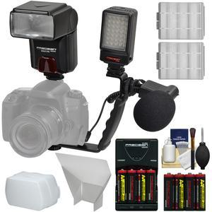 Precision Design DSLR350 High Power Auto Flash with LED Video Light + Mic + Bracket + Diffuser + Reflector + Batteries and Charger + Kit