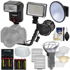 Precision Design DSLR350 High Power Auto Flash with LED Video Light + Mic + Bracket + Diffusers + Bouncer + Batteries and Charger + Kit