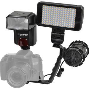 Precision Design DSLR350 High Power Auto Flash with LED Ultra-Slim Video Light + Microphone + Right Angle Bracket Kit