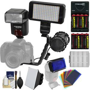 Precision Design DSLR350 High Power Auto Flash with LED Video Light + Mic + Bracket + Soft Box + 12 Color Gels + Batteries and Charger Kit