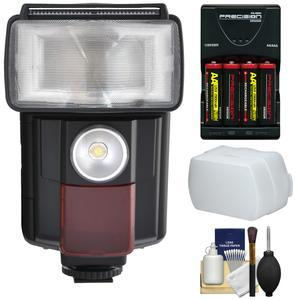 Precision Design DSLR450V High Power Auto Flash with LED Video Light with Batteries and Charger + Bounce Diffuser + Kit