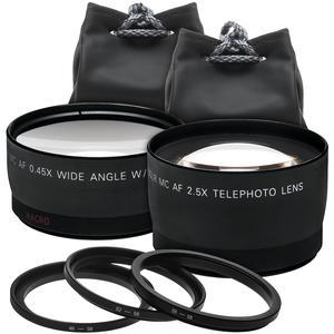 Precision Design 2.5x Telephoto and .45x Wide-Angle Digital Lenses - 49mm-52mm-55mm-58mm -