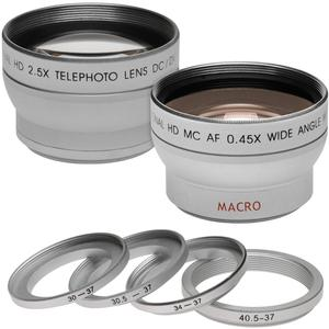 Precision Design .45x Wide Angle and 2.5x Telephoto Camera-Video Lens Set Fits Filter Sizes. 30mm 30.5mm 34mm 37mm and 40.5mm