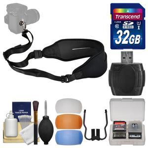 Precision Design Neoprene Sling Digital Camera Strap with 32GB Card and Diffuser Filter Set and Kit