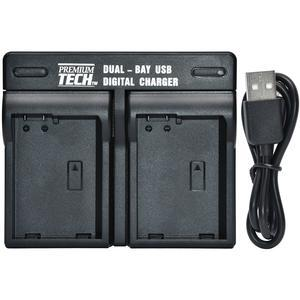 Premium Tech Dual Bay USB Battery Charger for Canon LP-E6 Battery