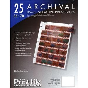 Print File 25 35mm Negative Preservers Pages
