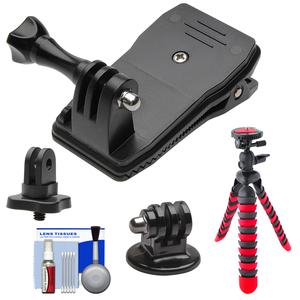 PRO-mounts PMGP138 360 Degree Clamp for GoPro HERO with .25 inch Thread Adapter and Flex Tripod and Cleaning Kit
