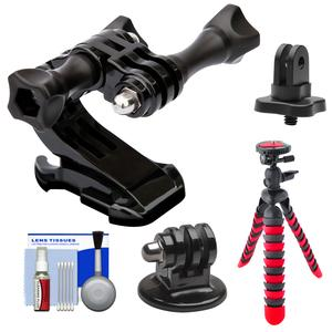 PRO-mounts PMGP64 Front Helmet Mount for GoPro HERO with .25 inch Thread Adapter and Flex Tripod and Cleaning Kit