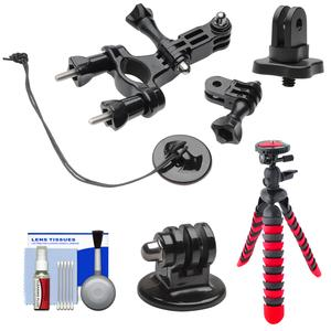 PRO-mounts PMGP02 Bike-Handlebar Tube Mount for GoPro HERO with .25 inch Thread Adapter and Flex Tripod and Cleaning Kit