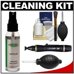 Purosol All Natural Optical Molecular Lens Cleaner-2 Fl. Oz.-with Lenspen and Hurricane Blower and Cleaning Kit