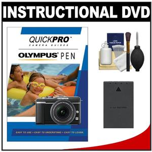 QuickPro Camera Guides for Olympus Pen Digital Cameras Instructional DVD with BLS-1-BLS-5 Battery + Cleaning Kit