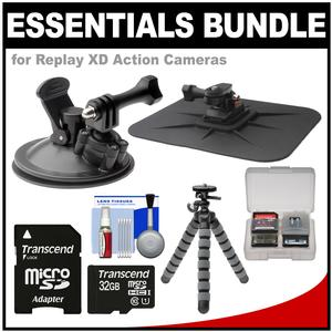 Essentials Bundle for Replay XD 1080 Mini and Prime X Action Video Camera Camcorder with Car Suction Cup and Dashboard Mounts and 32GB Card and Flex Tripod and Kit