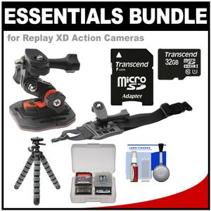 Essentials Bundle for Replay XD 1080 Mini and Prime X Action Video Camera Camcorder with Curved Helmet and Arm Mounts and 32GB Card and Flex Tripod and Kit
