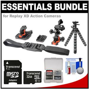 Essentials Bundle for Replay XD 1080 Mini and Prime X Action Video Camera Camcorder with Flat Surface Curved and Vented Helmet Mounts and 32GB Card and Flex Tripod and Kit