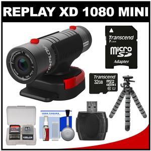 Replay XD 1080 Mini Digital HD Video Camera Camcorder with 32GB Card + Flex Tripod + Accessory Kit
