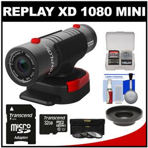 Replay XD 1080 Mini Digital HD Video Camera Camcorder with 32GB Card + Lens Adapter + 3 UV/CPL/ND8 Filters + Kit