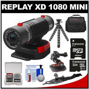 Replay XD 1080 Mini Digital HD Video Camera Camcorder with 32GB Card + Curved Helmet & Arm Mounts + Case + Tripod + Kit