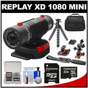 Replay XD 1080 Mini Digital HD Video Camera Camcorder with 32GB Card + Helmet & Flat Surface Mounts + Case + Tripod + Kit