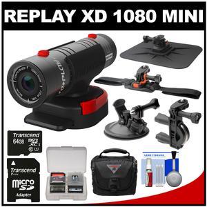 Replay XD 1080 Mini Digital HD Video Camera Camcorder with 64GB Card + Car Suction Cup Dashboard Handlebar Bike & Helmet Mounts + Case + Kit