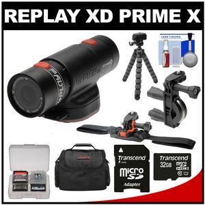 Replay XD Prime X Waterproof Wi-Fi HD Action Video Camera Camcorder with 32GB Card + ATV/Bike Handlebar & Vented Helmet Mounts + Case + Tripod + Kit