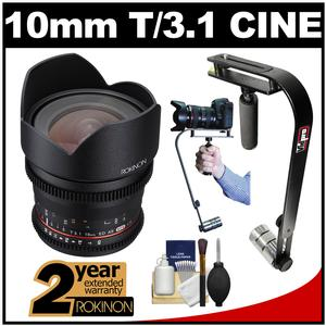 Rokinon 10mm T/3.1 Cine Wide Angle Lens (for Video DSLR Olympus/Panasonic Micro 4/3) with 2 Year Ext. Warranty + Steadycam Kit