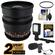 Rokinon 16mm T/2.2 Cine Wide Angle Lens (for Video DSLR Sony Alpha A-Mount Cameras) with 2 Year Ext. Warranty + Filter + LED Video Light + Microphone Kit