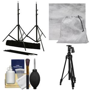 RPS Studio 10 x 10 ft. Portable Background Stand with Bag with Muslin Background-Gray Fog-and Tripod and Cleaning Kit