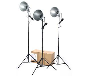 RPS Studio 3 Light Photoflood Reflector and Stands Studio Kit-RS-4003 -