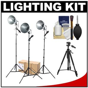 RPS Studio 3 Light Photoflood Reflector and Stands Studio Kit-RS-4003-with Tripod and Cleaning Kit