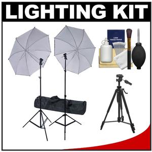 RPS Studio Deluxe Wireless Speedlite Studio Kit 2 Umbrellas 2 Stands 4-Channel Wireless Transmitter 2 Receivers Case + Tripod Kit