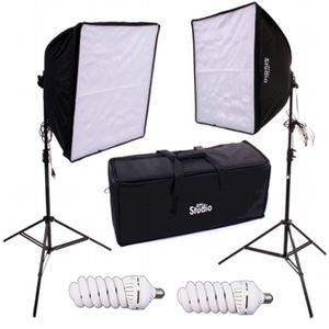 RPS Studio Dual Square Softbox Light Kit with 2 Softboxes 2 Light Stands 2 Lamps and Case